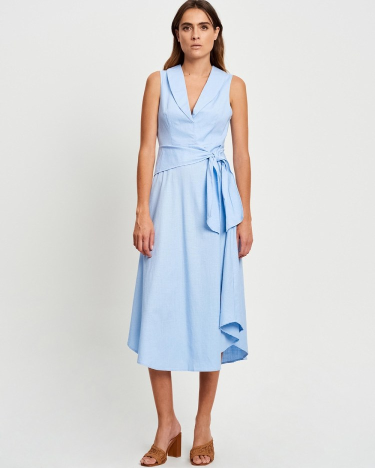 Willa Ocean Midi Dresses Powder Blue