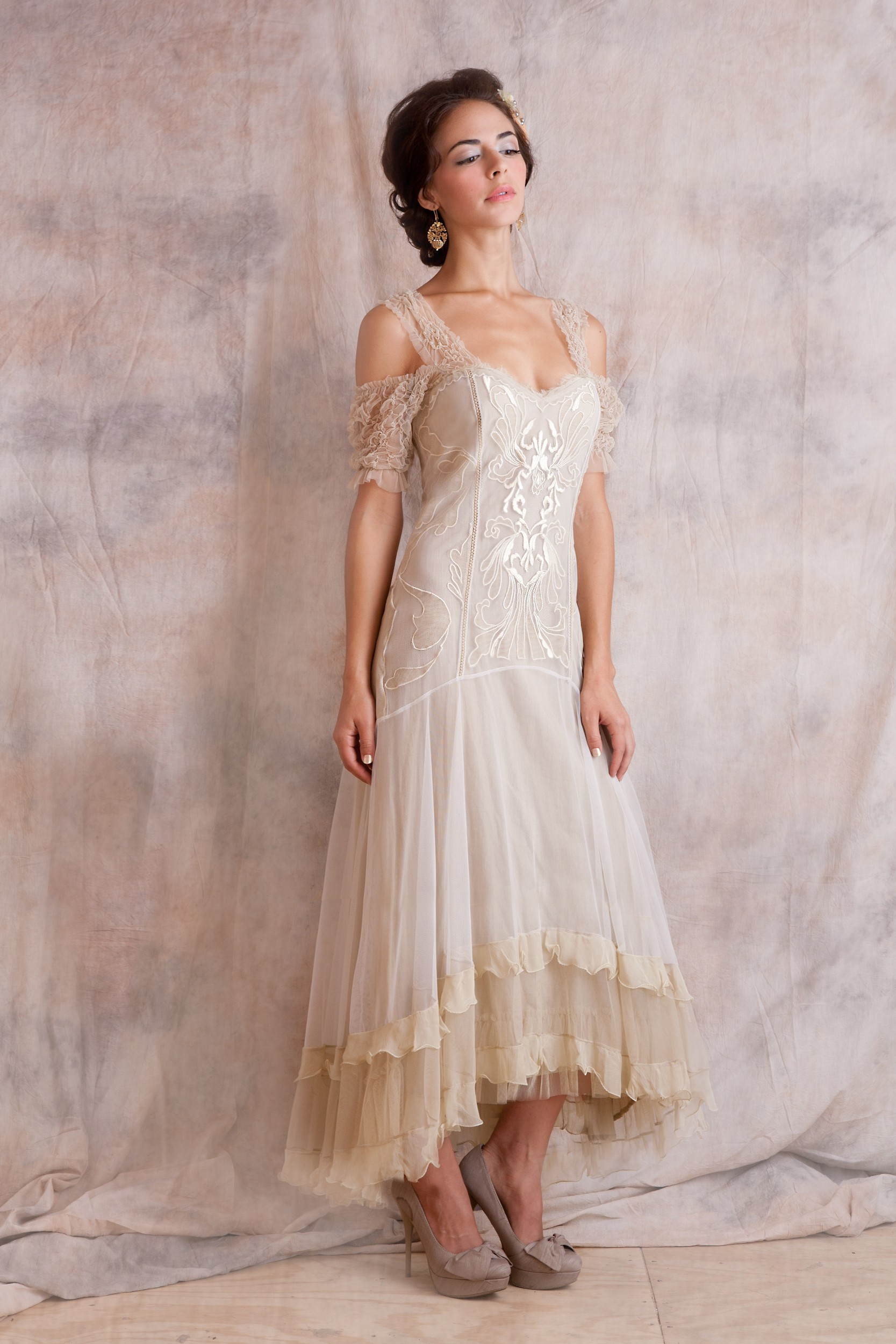 Venetian Wedding Dress In Cream By Nataya