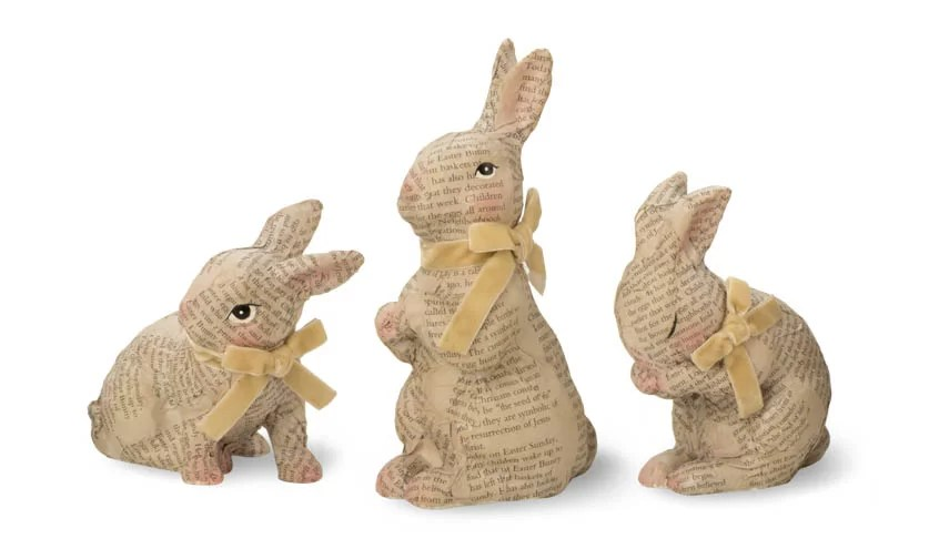 October Hill 3 Piece Decoupage Bunny Figurine Set