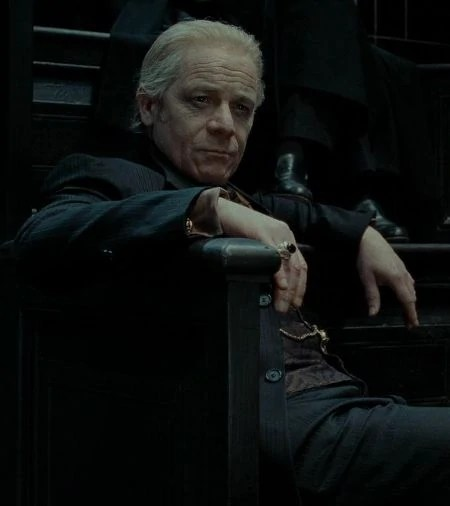 Death Eater Yaxley bullies Ron Weasley at the Ministry of Magic in Harry Potter & the Deathly Hallows