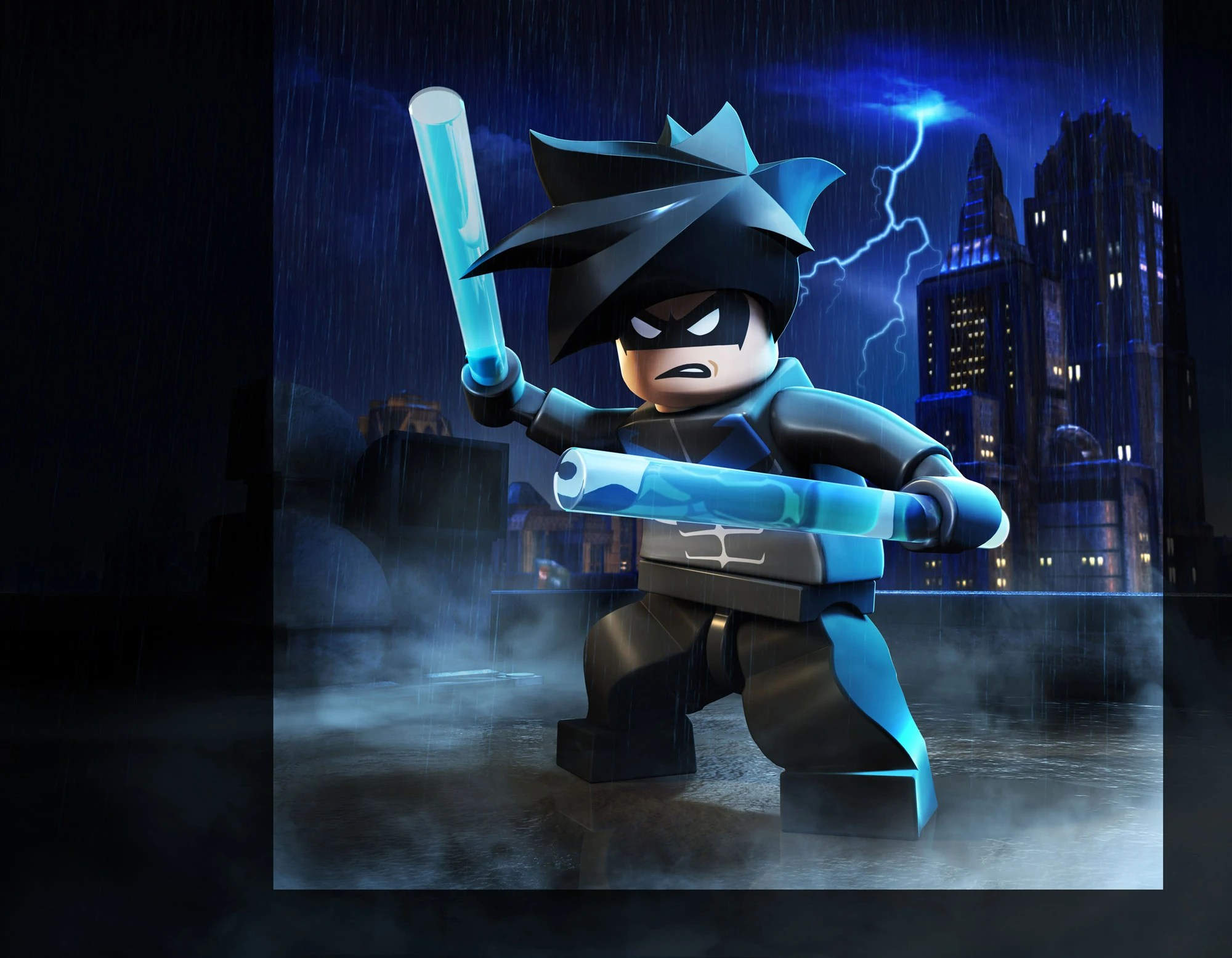 nightwing in a promotional image for lego batman 2 dc super heroes