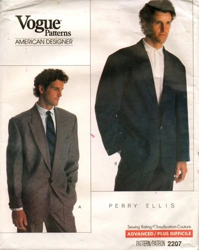 1980s Perry Ellis men's jacket pattern - Vogue 2207