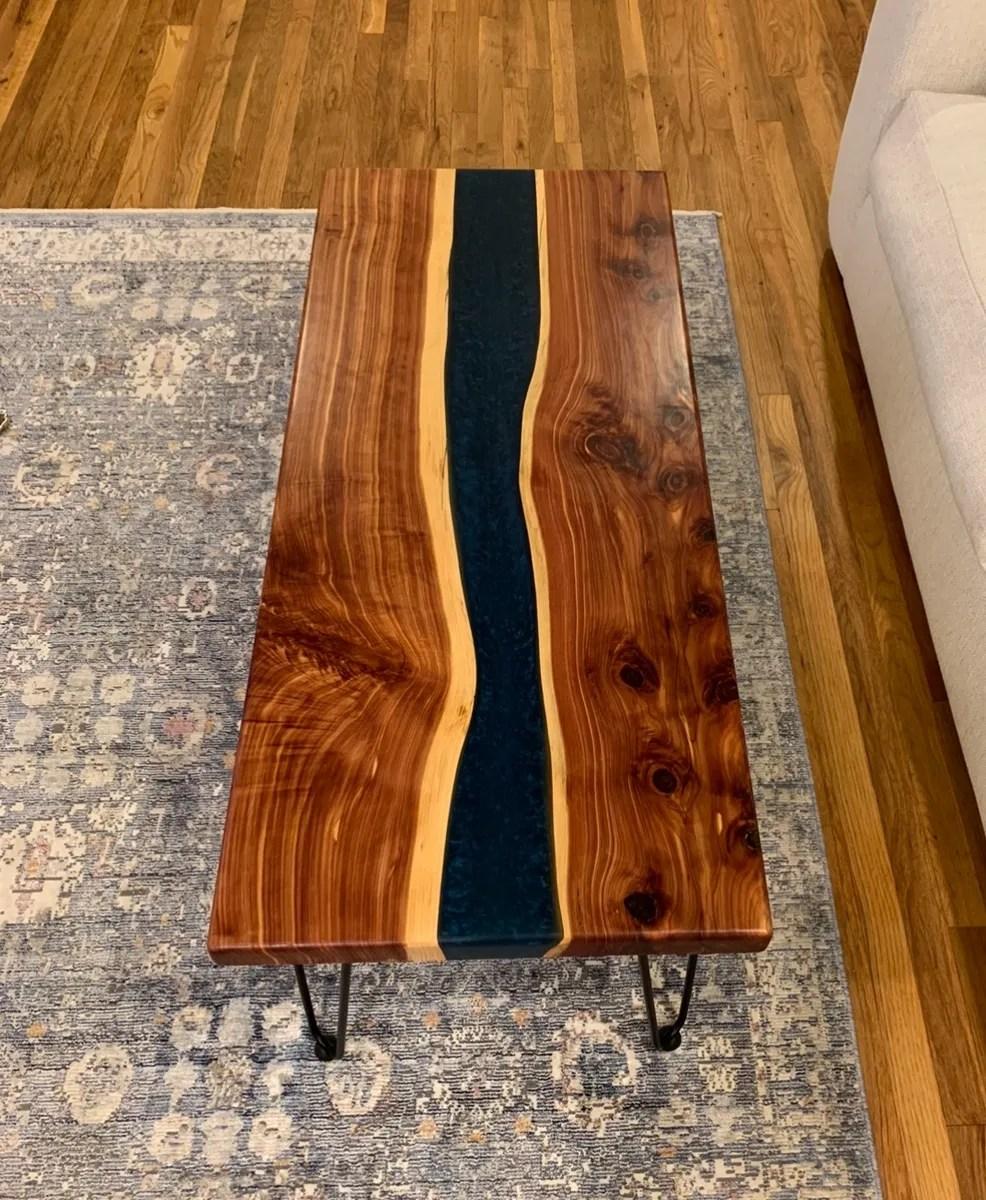 dark blue epoxy coffee table