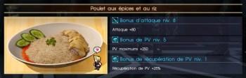 Final Fantasy XV poulet aux épices et au riz