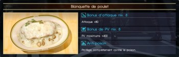 Final Fantasy XV blanquette de poulet
