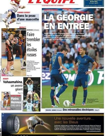 L'Equipe Vendredi 22 Mars 2013