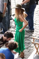 Blake Lively cleavagy in sexy low-cut green dress on the Gossip Girl set in Paris - Hot Celebs Home