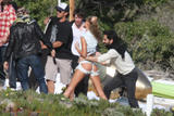 Gisele Bundchen shows her butt at a photoshoot on the beach in Santa Monica