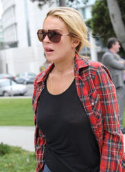 Lindsay Lohan leggy and braless showing her big boobs out at probation office and shopping at Sama Eye Wear & gets Gas in West Hollywood - Hot Celebs Home