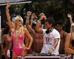 Paris Hilton in skimpy pink swimsuit at the Supermartxe Party at the Privilege Club in Ibiza - Hot Celebs Home