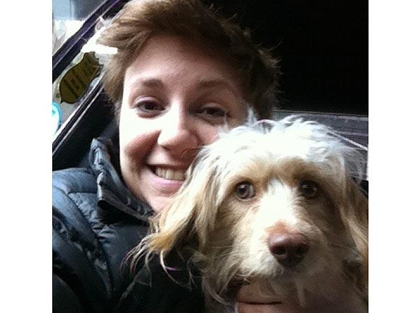 Lena Dunham and dog