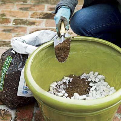 foam packing peanuts in planter