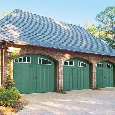 garage doors painted green