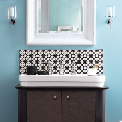 diy glass tile backsplash bathroom. years later i still love this,