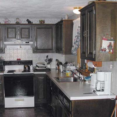 before photo of kitchen with dark wood cabinets, inset of John Dee sanding a cabinet door