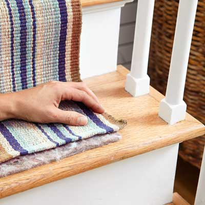 Cut the Padding to Width to Install a Flat-Weave Cotton Stair Runner