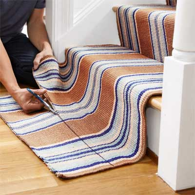 Trim the Bottom End to Install a Flat-Weave Cotton Stair Runner