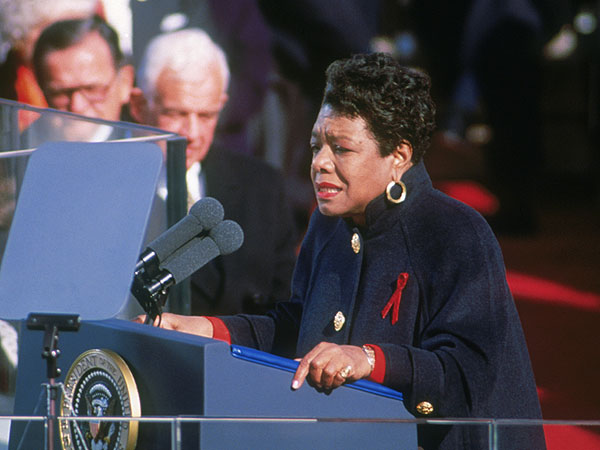 Maya Angelou at the first inauguration of President Bill Clinton in 1993