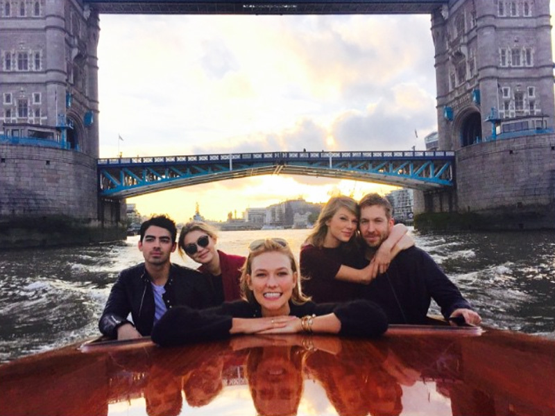 Taylor Swift, Calvin Harris Join Pals Gigi Hadid and Joe Jonas for a Boat Ride in London