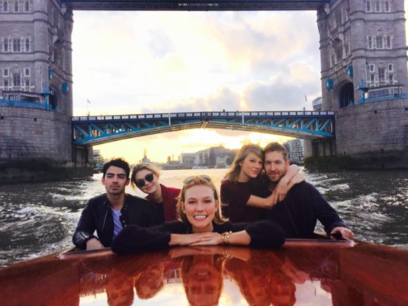 Taylor Swift, Calvin Harris Join Pals Gigi Hadid and Joe Jonas for a Boat Ride in London