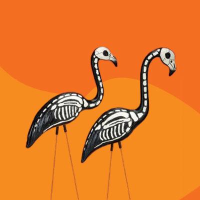 Skeleton Yard Flamingos Spooky Halloween Home Decor