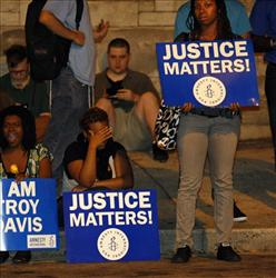 Protesters in Atlanta ahead of the execution of Troy Davis.