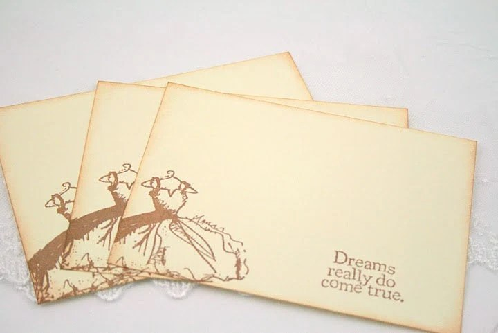Wedding Wish Cards - Bridal Shower - Vintage Wedding Dress