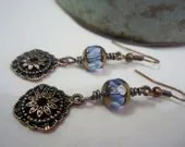 CLEARANCE Copper blue dangle earrings