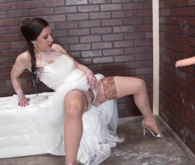Pretty Wedding Dress On A Girl Taking Fake Cumshots