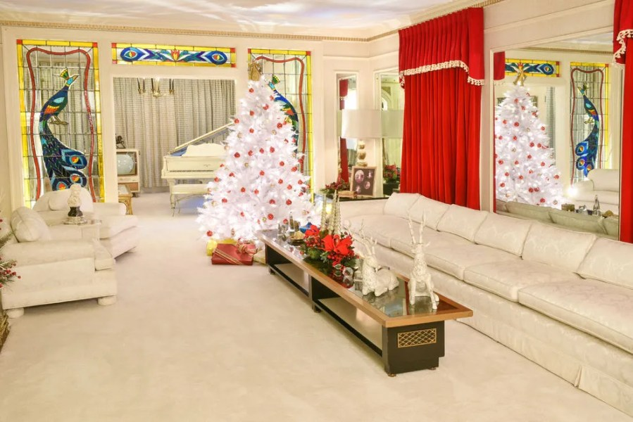 Graceland decorated for the holidays