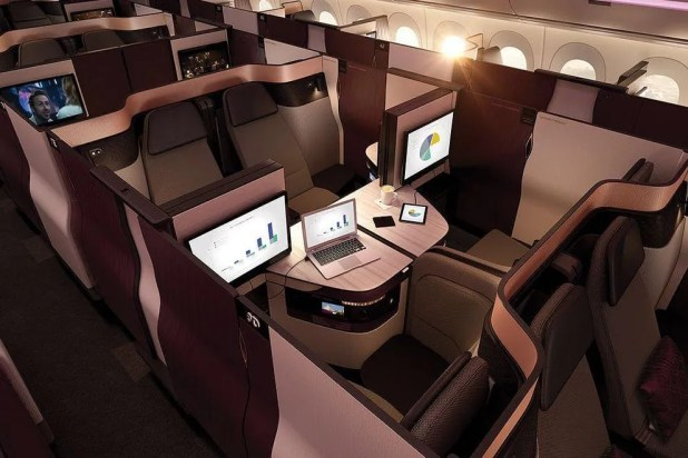 Qatar Airways' Qsuite allows groups of travelers to sit face-to-face in a private cabin