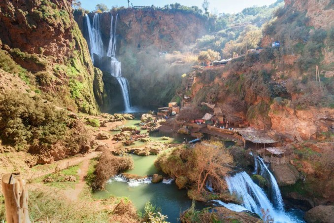Wide shot of Ouzoud Falls