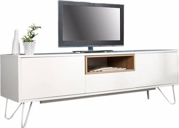 meuble tv 150 cm en chene massif et mdf avec pieds en metal coloris blanc
