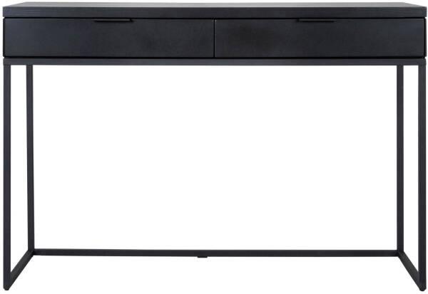 Console 80 Cm En Bois Massif Coloris Noir Avec Pietement En Fer