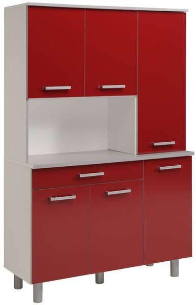 buffet de cuisine moderne 120 cm coloris rouge brillant