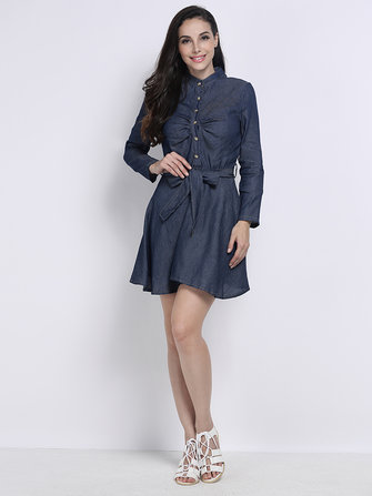 Sexy V Neck Women Long Sleeve Denim Dress