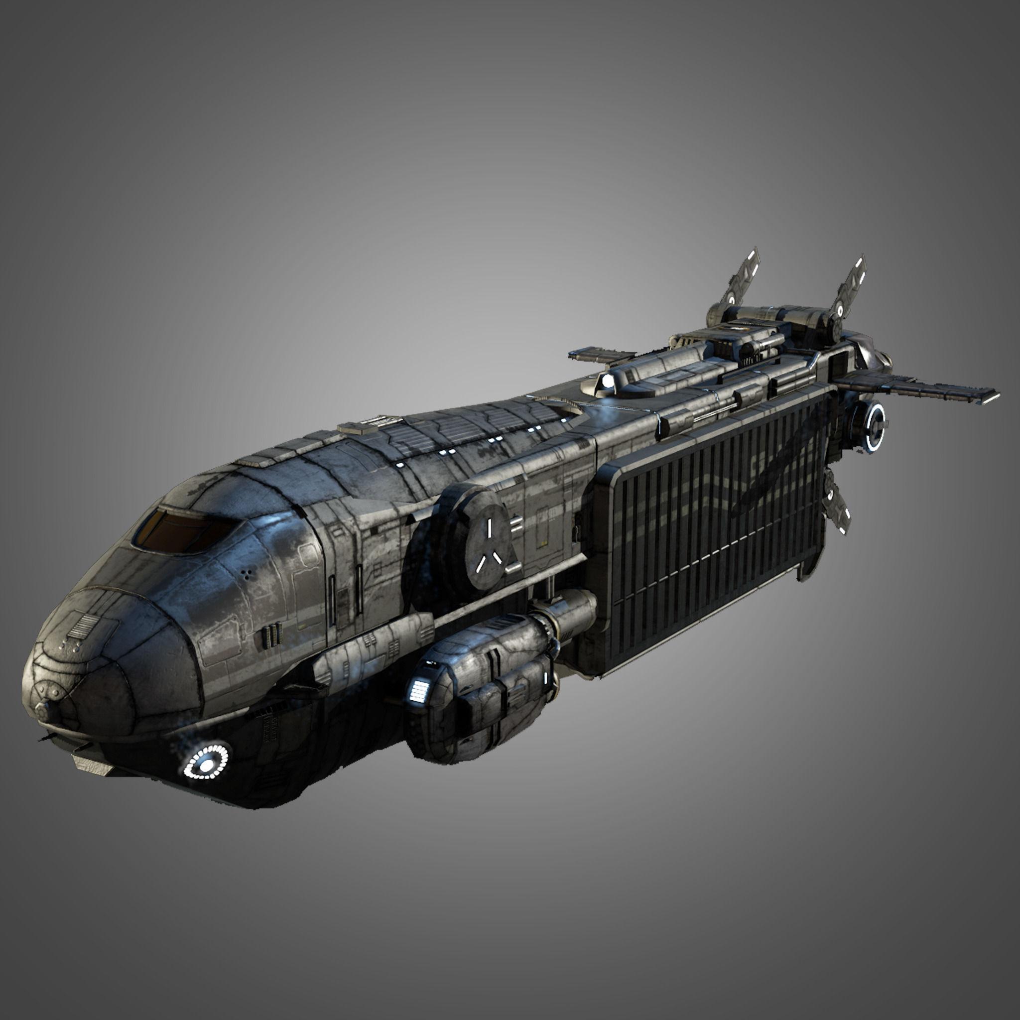 3D Asset Sci Fi Transport Ship CGTrader