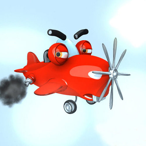 3D Model Realtime Airplane Cartoon Rigged CGTrader