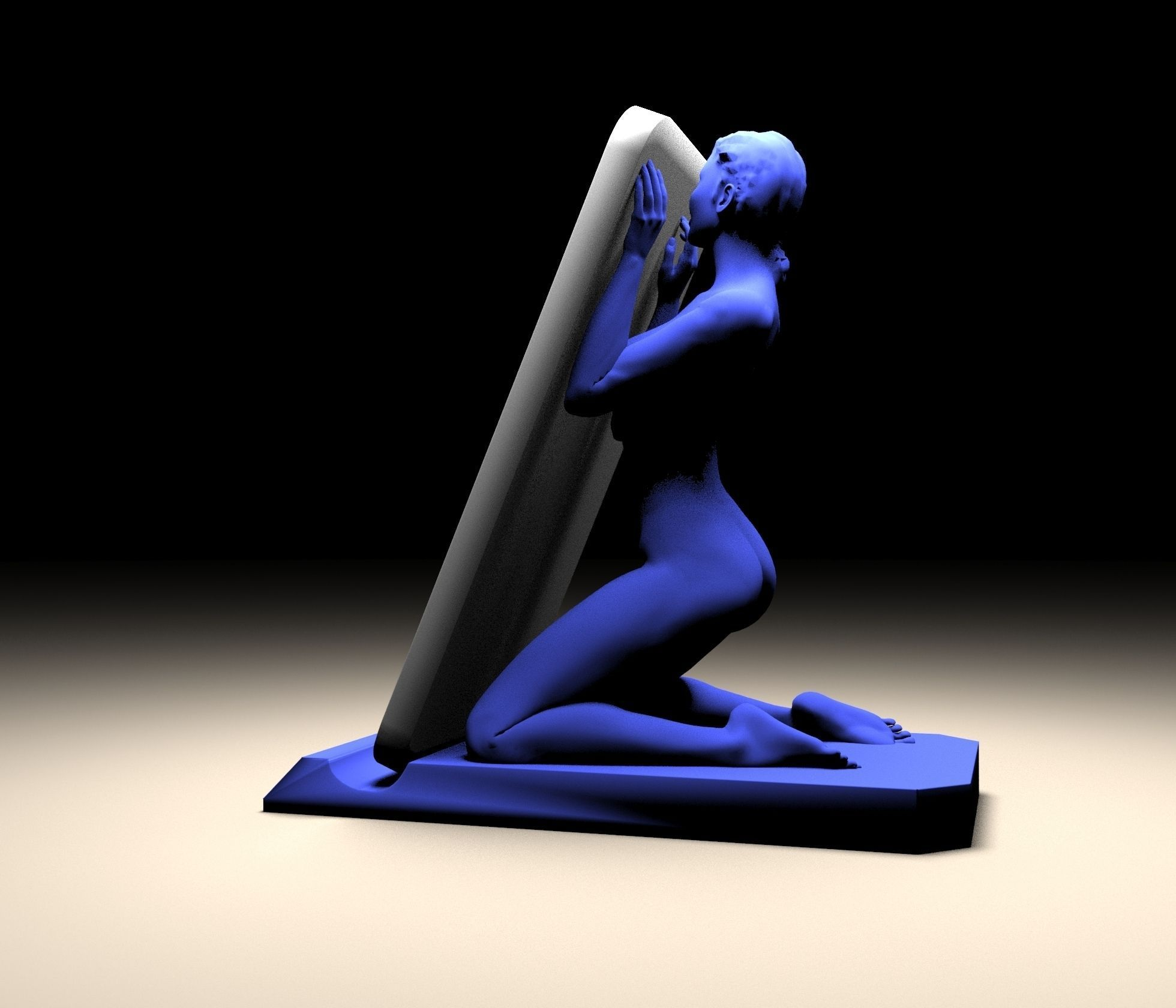 Stand With Girl 3D Model 3D Printable OBJ STL