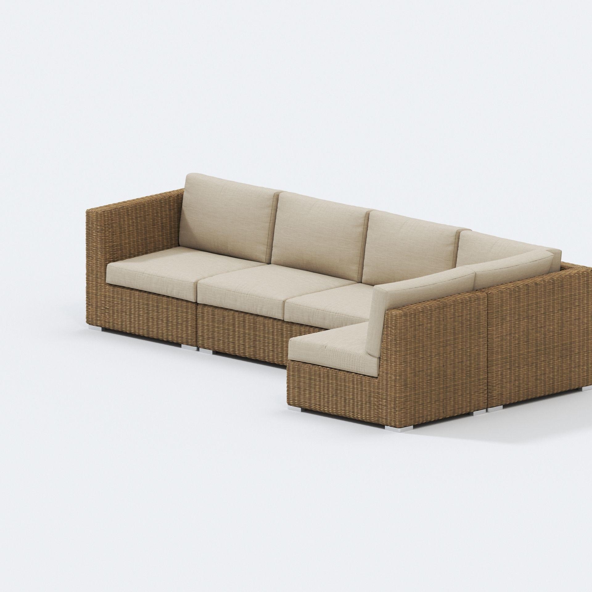 teak warehouse paulo outdoor wicker sectional 3d model