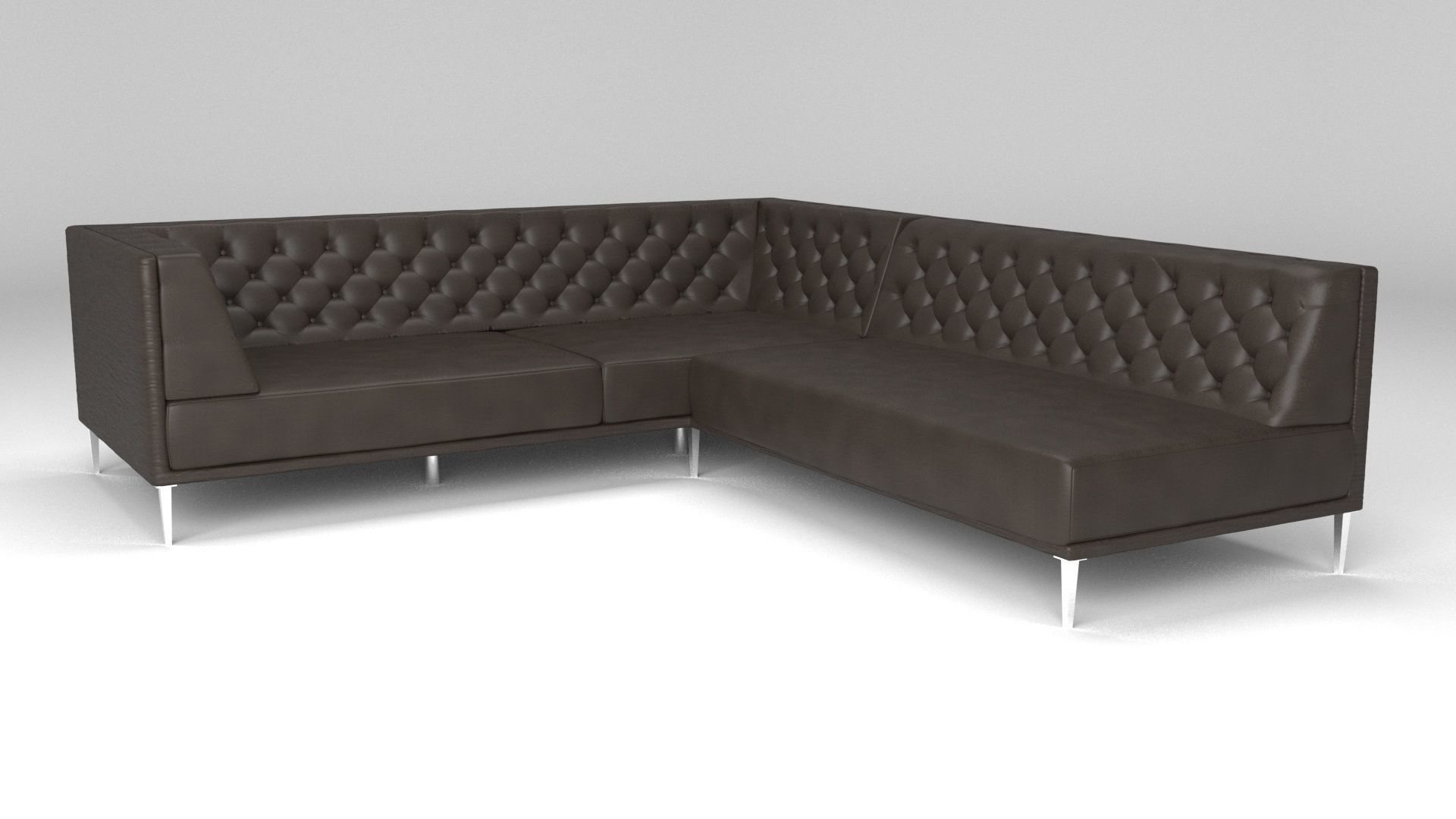 Savile Black Leather Tufted Sectional Sofa 3d Model