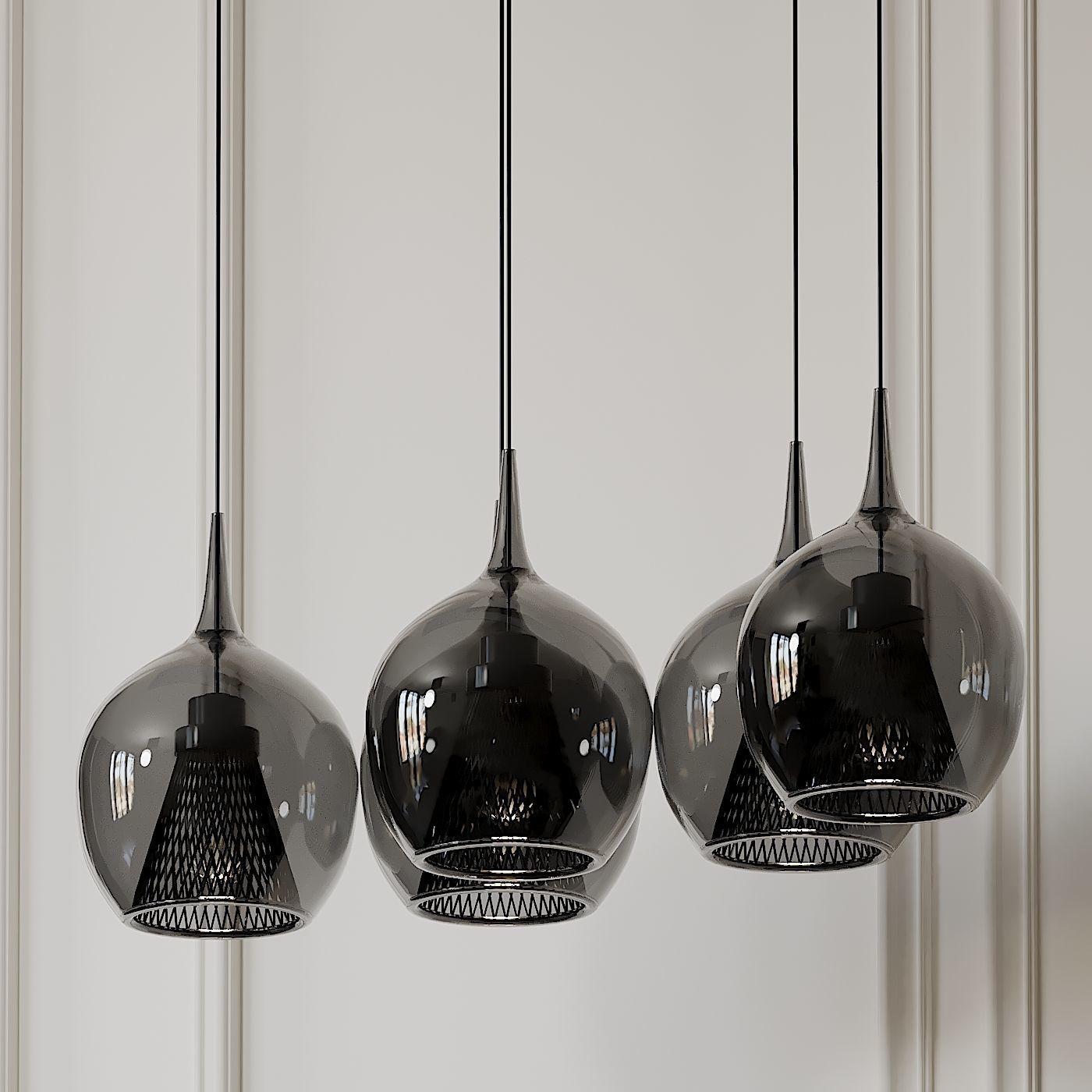zin led 5 light linear pendant by elan lighting 3d model