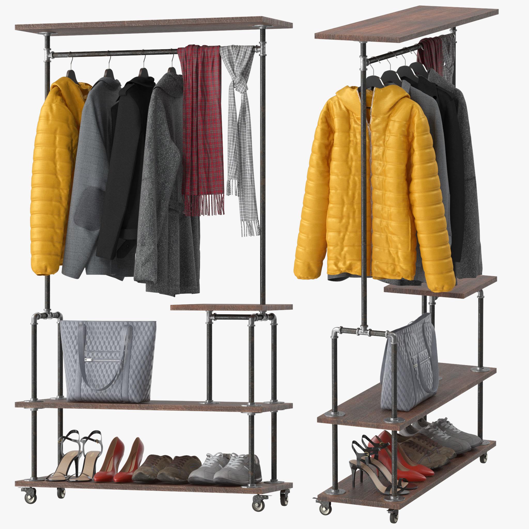 industrial clothing rack 3d model