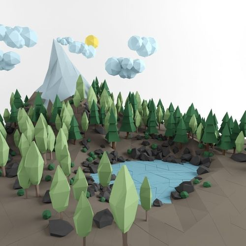 3D Model Low Poly Lanscape Mountain Hill Tree Lake Rock 3D Low Poly Model VR AR Low Poly MAX