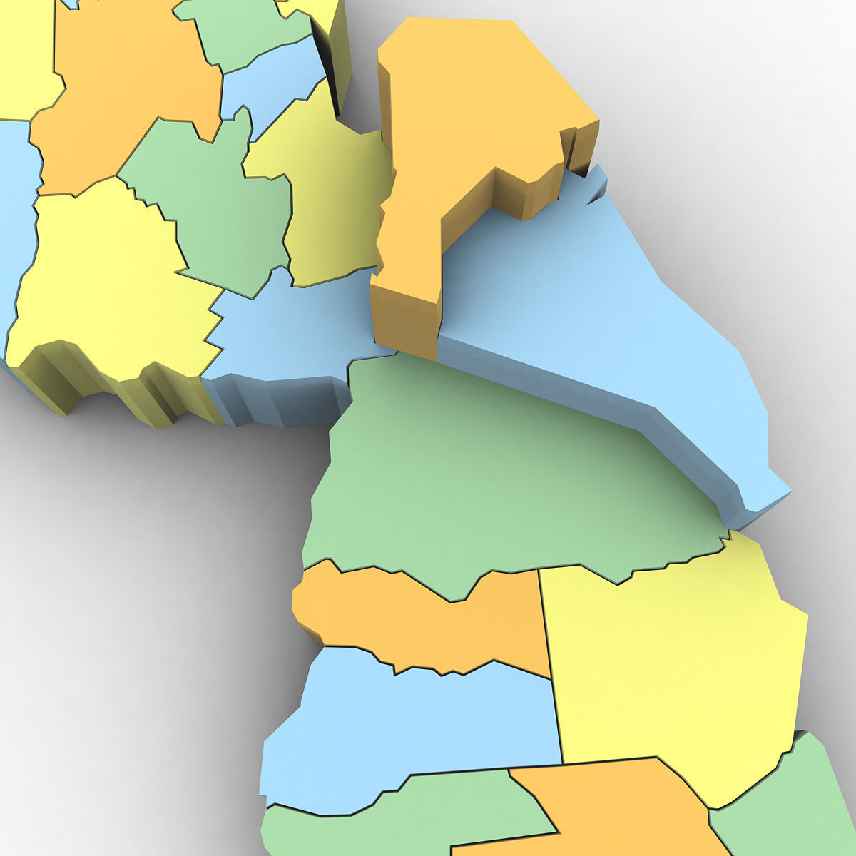 New Jersey Political Map 3D   CGTrader     new jersey political map 3d model max obj 3ds mtl tga 6