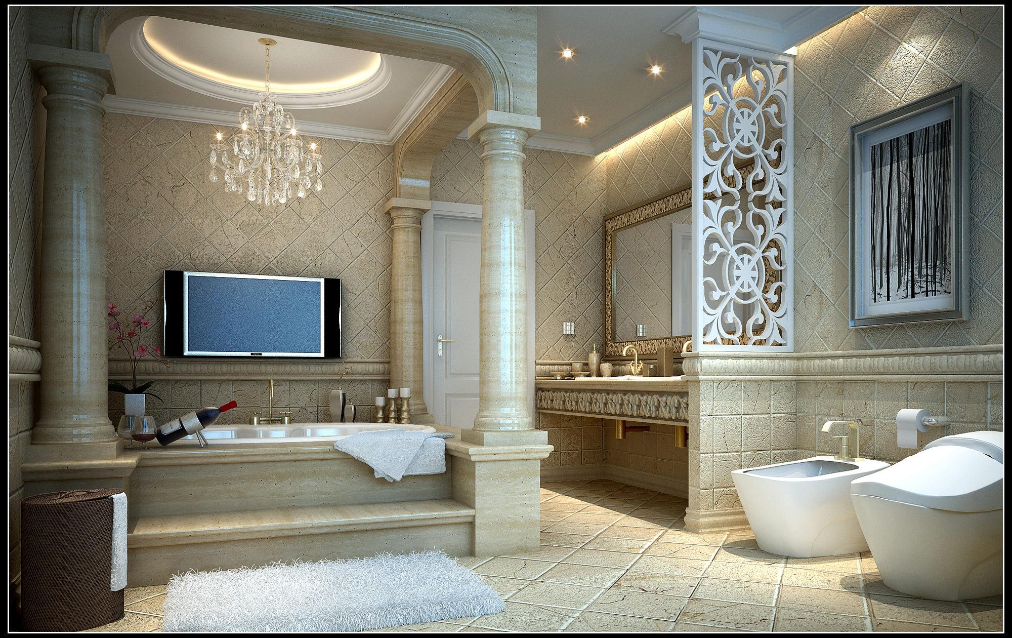 Collection Modern Bathroom Fully Furnished Collection 3d Model Max Bathroom Model Bathroom Liners Bathroom Models