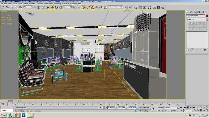 Barber Shop Or Beauty Salon Interior 3D Model MAX