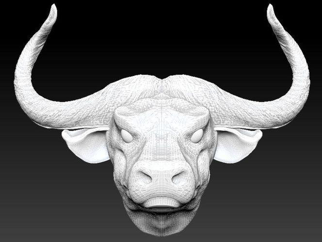 3D Printable Model Horned Bull Head CGTrader