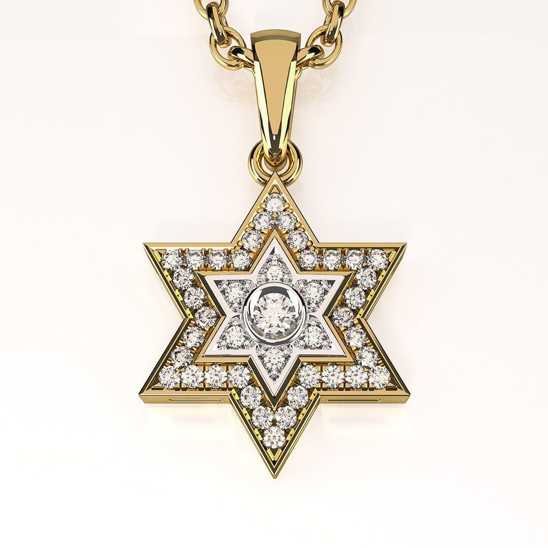 Star Of David Pendant With Gemstones 002 3d Model 3d
