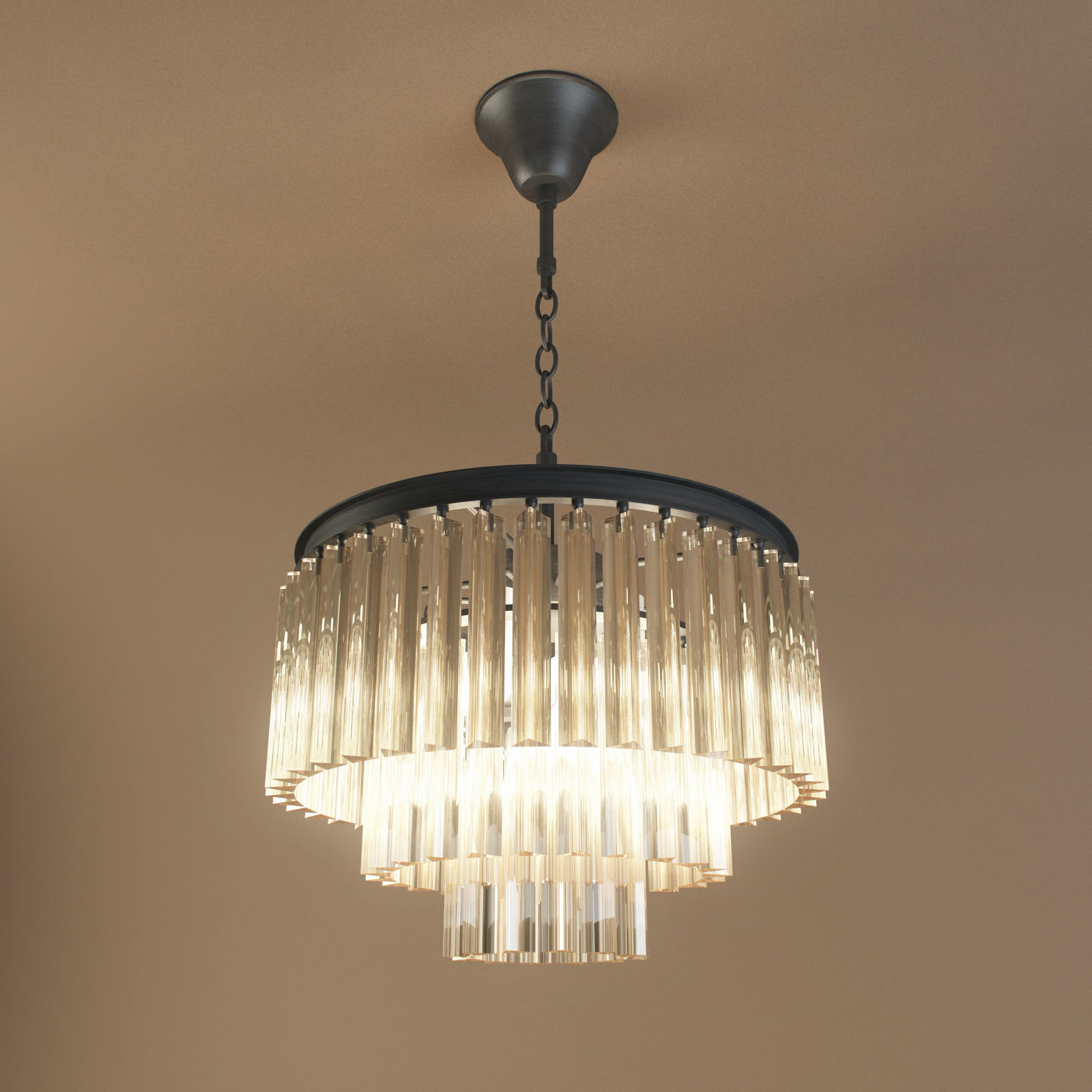 restoration hardware 1920s odeon glass fringe chandelier